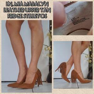 LN, MIA Madalyn fringe leather uppercut stilletos